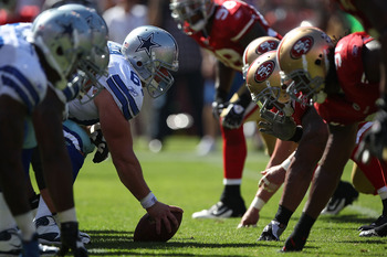 SAN FRANCISCO, CA - SEPTEMBER 18:  Members of the Dallas Cowboys line up against the San Francisco 49ers at Candlestick Park on September 18, 2011 in San Francisco, California.  (Photo by Jed Jacobsohn/Getty Images)