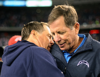 FOXBORO, MA -  SEPTEMBER 18:  Bill Belichick of the New England Patriots talks with Norv Turner San Diego Chargers after a game at Gillette Stadium on September 18, 2011 in Foxboro, Massachusetts. (Photo by Jim Rogash/Getty Images)