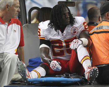 DETROIT, MI - SEPTEMBER 18:  Jamaal Charles #25 of the Kansas City Chiefs is driven off the field after being injured against the Detroit Lions at Ford Field on September 18, 2011 in Detroit, Michigan.  (Photo by Dave Reginek/Getty Images)