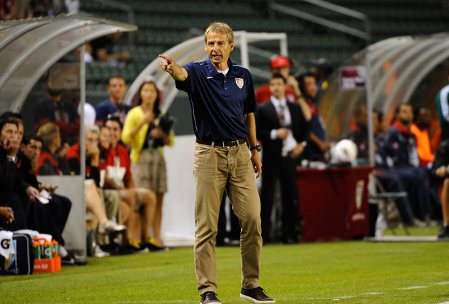 CARSON, CA - SEPTEMBER 02:  Coach Jurgen Klinsmann of the United States reacts during the friendly soccer match against Costa Rica  at The Home Depot Center on September 2, 2011 in Carson, California.  (Photo by Kevork Djansezian/Getty Images)