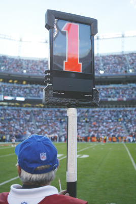 DENVER - OCTOBER 16:  The first down marker is shown during the New England Patriots game against the Denver Broncos at INVESCO Field at Mile High on October 16, 2005 in Denver, Colorado. The Broncos defeated the Pats 28-20. (Photo by Doug Pensinger/Getty