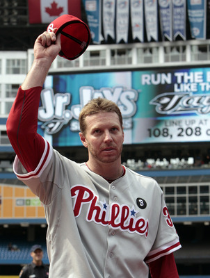 TORONTO, CANADA - JULY 2: Roy Halladay #34 of the Philadelphia Phillies waves after a complete game win against the Toronto Blue Jays during MLB action at The Rogers Centre July 2, 2011 in Toronto, Ontario, Canada. (Photo by Abelimages/Getty Images)