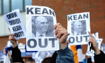 BLACKBURN, ENGLAND - SEPTEMBER 17:  Blackburn fans march outside the stadium to show their dissaproval of Manager Steve Kean during the Barclays Premier League match between Blackburn Rovers and Arsenal at Ewood Park on September 17, 2011 in Blackburn, En