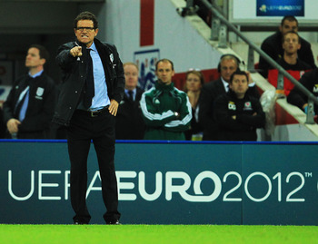 LONDON, ENGLAND - SEPTEMBER 06:  Fabio Capello the England manager watches from the touchline during the UEFA EURO 2012 group G qualifying match between England and Wales at Wembley Stadium  on September 6, 2011 in London, England.  (Photo by David Cannon