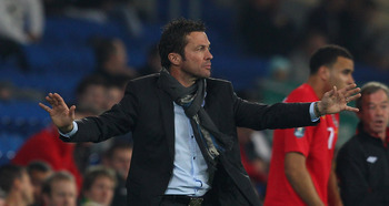 CARDIFF, WALES - OCTOBER 08:  Bulgaria coach  Lothar Matthaus makes a point during the EURO 2012  Group G Qualifier between Wales and Bulgaria at Cardiff City Stadium on October 8, 2010 in Cardiff, Wales.  (Photo by Stu Forster/Getty Images)
