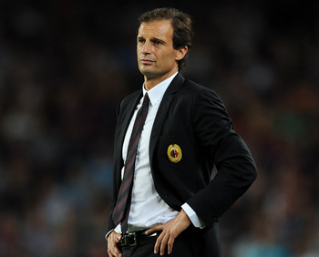 BARCELONA, SPAIN - SEPTEMBER 13:  Head coach Massimiliano Allegri of AC Milan follows the game during the UEFA Champions League group H match between FC Barcelona and AC Milan at the Camp Nou stadium on September 13, 2011 in Barcelona, Spain.  (Photo by J