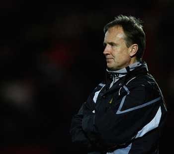 DONCASTER, UNITED KINGDOM - MARCH 17:  Sean O'Driscoll, manager of Doncaster looks on during the Coca-Cola Championship match between Doncaster Rovers and Reading at the Keepmoat Stadium on March 17, 2009 in Doncaster, England.  (Photo by Matthew Lewis/Ge