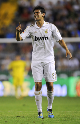 VALENCIA, SPAIN - SEPTEMBER 18:  Ricardo dos Santos 'Kaka' of Real Madrid reacts during the La Liga match between Levante UD and Real Madrid CF at Ciutat de Valencia Stadium on September 18, 2011 in Valencia, Spain. Levante UD won 1-0.  (Photo by David Ra