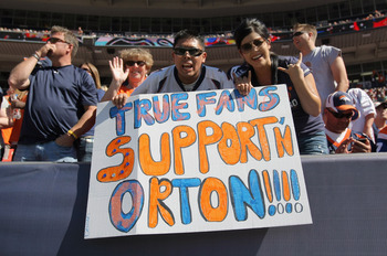 DENVER, CO - SEPTEMBER 18:  Fans dispaly a sign in support of quarterback Kyle Orton #8 of the Denver Broncos as the Broncos defeated the Cincinnati Bengals 24-22 at Invesco Field at Mile High on September 18, 2011 in Denver, Colorado.  (Photo by Doug Pen