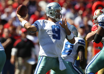 SAN FRANCISCO, CA - SEPTEMBER 18:   Tony Romo #9 of the Dallas Cowboys throws against the San Francisco 49ers at Candlestick Park on September 18, 2011 in San Francisco, California.  (Photo by Jed Jacobsohn/Getty Images)