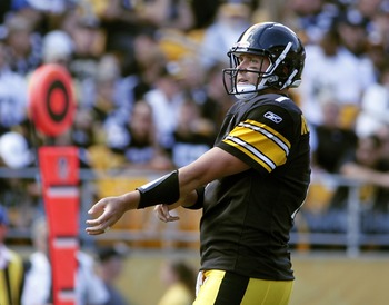 PITTSBURGH, PA - SEPTEMBER 18:   Ben Roethlisberger #7 of the Pittsburgh Steelers reacts after being sacked against the Seattle Seahawks during the game on September 18, 2011 at Heinz Field in Pittsburgh, Pennsylvania.  The Steelers defeated the Seahawks