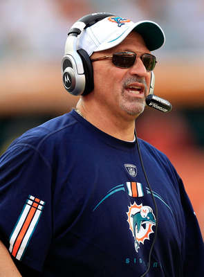 MIAMI GARDENS, FL - SEPTEMBER 18:  Head coach of the Miami Dolphins Tony Sparano watches the action during a game against the Houston Texans at Sun Life Stadium on September 18, 2011 in Miami Gardens, Florida.  (Photo by Sam Greenwood/Getty Images)