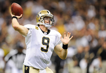 NEW ORLEANS, LA - SEPTEMBER 18:  Drew Brees #9 of the New Orleans Saints delivers a pass at the Louisiana Superdome on September 18, 2011 in New Orleans, Louisiana.  The Saints defeated the Bears 30-13.  (Photo by Stacy Revere/Getty Images)