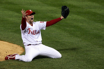 PHILADELPHIA - OCTOBER 29:  Brad Lidge #54 of the Philadelphia Phillies celebrates the final out of their 4-3 win to win the World Series against the Tampa Bay Rays during the continuation of game five of the 2008 MLB World Series on October 29, 2008 at C