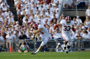 STATE COLLEGE, PA - SEPTEMBER 10: Kicker Cade Foster #43 of the Alabama Crimson Tide kicks off against the Penn State Nittany Lions during the first half at Beaver Stadium on September 10, 2011 in State College, Pennsylvania.  (Photo by Rob Carr/Getty Ima