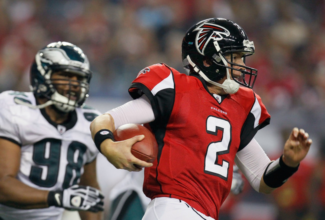 ATLANTA, GA - SEPTEMBER 18:  Matt Ryan #2 of the Atlanta Falcons rushes upfield against the Philadelphia Eagles at Georgia Dome on September 18, 2011 in Atlanta, Georgia.  (Photo by Kevin C. Cox/Getty Images)
