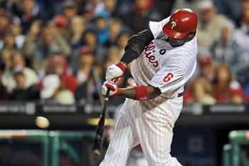 PHILADELPHIA, PA - SEPTEMBER 15: Ryan Howard #6 of the Philadelphia Phillies hits the game winning double in the 10th inning to beat the Florida Marlins 2-1 at Citizens Bank Park on September 15, 2011 in Philadelphia, Pennsylvania. (Photo by Drew Hallowel