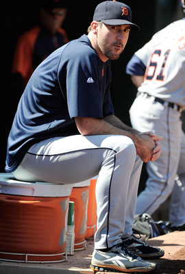 OAKLAND, CA - SEPTEMBER 17: Pitcher Justin Verlander #35 of the Detroit Tigers looks on from the dugout against the Oakland Athletics in the fourth inning during an MLB baseball game at O.co Coliseum on September 17, 2011 in Oakland, California.  (Photo b
