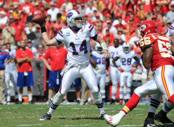 KANSAS CITY, MO - SEPTEMBER 11:  Quarterback Ryan Fitzpatrick #14 of the Buffalo Bills drops back to pass against the Kansas City Chiefs during the second quarter on September 11, 2011 at Arrowhead Stadium in Kansas City, Missouri.  The Bills beat the Chi