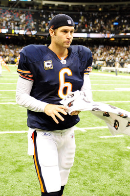 NEW ORLEANS, LA - SEPTEMBER 18: Jay Cutler #6 of the Chicago Bears walks off the field after being defeated 30-13 by the New Orleans Saints at the Louisiana Superdome on September 18, 2011 in New Orleans, Louisiana.  (Photo by Stacy Revere/Getty Images)