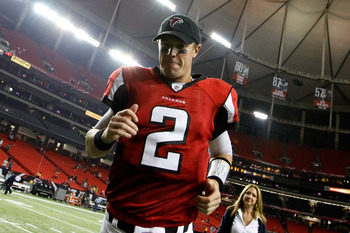 ATLANTA, GA - SEPTEMBER 18:  Matt Ryan #2 of the Atlanta Falcons trotts off the field after their 35-31 win over the Philadelphia Eagles at Georgia Dome on September 18, 2011 in Atlanta, Georgia.  (Photo by Kevin C. Cox/Getty Images)