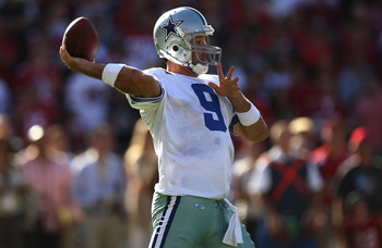 SAN FRANCISCO, CA - SEPTEMBER 18:   Tony Romo #9 of the Dallas Cowboys throws a 77 yard pass in overtime against the San Francisco 49ers at Candlestick Park on September 18, 2011 in San Francisco, California.  (Photo by Jed Jacobsohn/Getty Images)