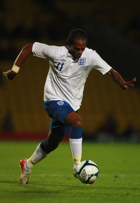 LONDON, ENGLAND - SEPTEMBER 01:  Nathan Delfouneso of England in action during the UEFA European Under-21 Championship Qualifier Group 8 match between England and Azerbaijan at Vicarage Road on September 1, 2011 in London, England.  (Photo by Paul Gilham/