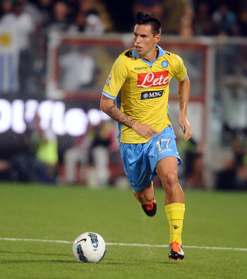 CESENA, ITALY - SEPTEMBER 10:  Marek Hamsik of SSC Napoli in action during the Serie A match between AC Cesena and SSC Napoli at Dino Manuzzi Stadium on September 10, 2011 in Cesena, Italy.  (Photo by Mario Carlini / Iguana Press/Getty Images)
