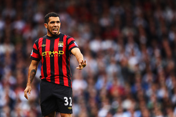 LONDON, ENGLAND - SEPTEMBER 18:  Carlos Tevez of Manchester City is seen during the Barclays Premier League match between Fulham and Manchester City at Craven Cottage on September 18, 2011 in London, England.  (Photo by Julian Finney/Getty Images)