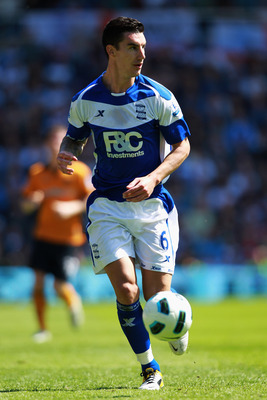 BIRMINGHAM, ENGLAND - MAY 01:   Liam Ridgewell of Birmingham in action during the Barclays Premier League match between Birmingham City and Wolverhampton Wanderers at St Andrews on May 1, 2011 in Birmingham, England.  (Photo by Dean Mouhtaropoulos/Getty I