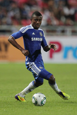 BANGKOK, THAILAND - JULY 24:  Salomon Kalou #21of Chelsea looks to pass during the pre-season friendly match between the Thailand All Stars and Chelsea at Rajamangala National Stadium on July 24, 2011 in Bangkok, Thailand.  (Photo by Chris McGrath/Getty I