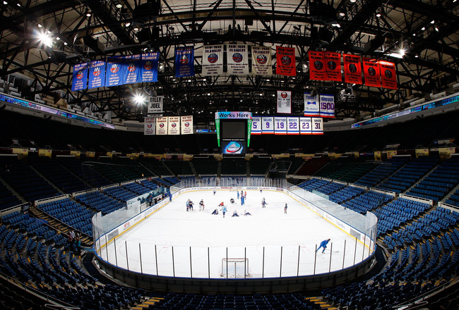 UNIONDALE, NY - SEPTEMBER 21:  A general view of the New York Islanders training camp on September 21, 2010 at Nassau Coliseum in Uniondale.  (Photo by Mike Stobe/Getty Images)
