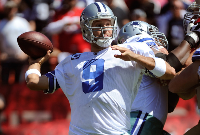 SAN FRANCISCO, CA - SEPTEMBER 18: Tony Romo #9 of the Dallas Cowboys drops back to pass against the San Francisco 49ers during an NFL football game at Candlestick Park on September 18, 2011 in San Francisco, California.  (Photo by Thearon W. Henderson/Get