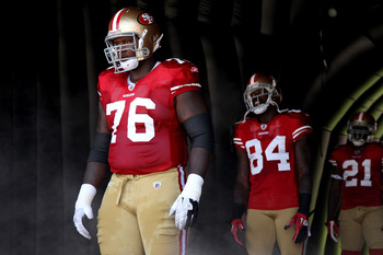 SAN FRANCISCO, CA - SEPTEMBER 18:   Anthony Davis #76 of the San Francisco 49ers looks on before his game against the Dallas Cowboys at Candlestick Park on September 18, 2011 in San Francisco, California.  (Photo by Jed Jacobsohn/Getty Images)