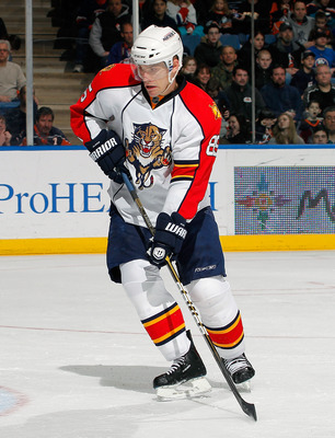 UNIONDALE, NY - FEBRUARY 21: Rostislav Olesz #85 of the Florida Panthers skates during an NHL hockey game against the New York Islanders at the Nassau Coliseum on February 21, 2011 in Uniondale, New York.  (Photo by Paul Bereswill/Getty Images)