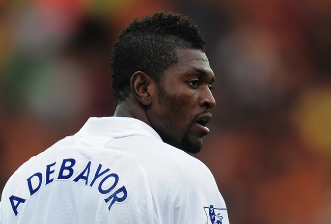 WOLVERHAMPTON, ENGLAND - SEPTEMBER 10:  Emmanuel Adebayor of Tottenham Hotspur looks on during the Barclays Premier League match between Wolverhampton Wanderers and Tottenham Hotspur at Molineux on September 10, 2011 in Wolverhampton, England.  (Photo by