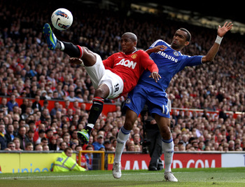 MANCHESTER, ENGLAND - SEPTEMBER 18:  Jose Bosingwa of Chelsea competes with Ashley Young of Manchester United during the Barclays Premier League match between Manchester United and Chelsea at Old Trafford on September 18, 2011 in Manchester, England.  (Ph