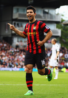 LONDON, ENGLAND - SEPTEMBER 18:  Sergio Aguero of Manchester City celebrates scoring his sides second goal during the Barclays Premier League match between Fulham and Manchester City at Craven Cottage on September 18, 2011 in London, England.  (Photo by J