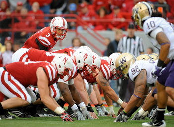 LINCOLN, NE - SEPTEMBER 17: Taylor Martinez #3 of the Nebraska Cornhuskers steps up to his line during their game against the Washington Huskies at Memorial Stadium September 17, 2011 in Lincoln, Nebraska. Nebraska won 51-38.(Photo by Eric Francis/Getty I