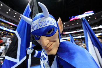 ANAHEIM, CA - MARCH 24:  The Duke Blue Devils mascot performs during the west regional semifinal of the 2011 NCAA men's basketball tournament at the Honda Center on March 24, 2011 in Anaheim, California.  (Photo by Kevork Djansezian/Getty Images)