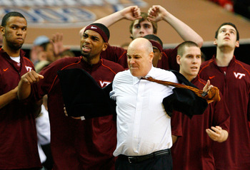ATLANTA - MARCH 13:  Head coach Seth Greenberg of the Virginia Tech Hokies reacts as he takes his jacket off in the final seconds of their 79-76 loss to the North Carolina Tar Heels during day two of the 2009 ACC Men's Basketball Tournament on March 13, 2