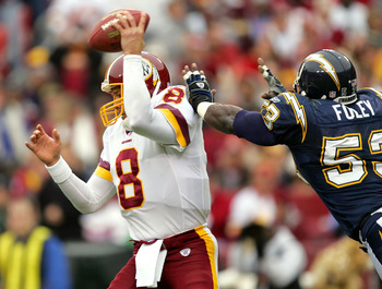 LANDOVER, MD - NOVEMBER 27:  Quarterback Mark Brunell #8 of the Washington Redskins is hurried by linebacker Steve Foley #53 San Diego Chargers during the second half of the game on November 27, 2005 at Fed Ex Field in Landover, Maryland.  (Photo by Jamie