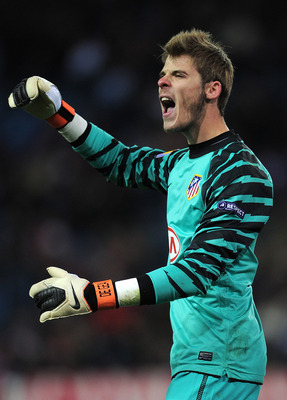 MADRID, SPAIN - DECEMBER 01:  Goalkeeper David de Gea of Atletico Madrid reacts during the Europea League match between Atletico Madrid and Aris Thessaloniki at the Vicente Calderon Stadium on December 1, 2010 in Madrid, Spain.  (Photo by Jasper Juinen/Ge