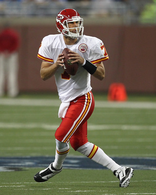 DETROIT, MI - SEPTEMBER 18:  Matt Cassel #7 of the Kansas City Chiefs drops back to make a pass during a NFL game against the Detroit Lions at Ford Field on September 18, 2011 in Detroit, Michigan.  The Lions won 48-3 (Photo by Dave Reginek/Getty Images)