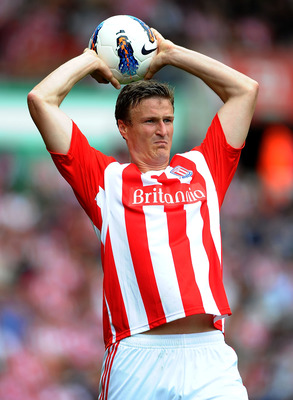 STOKE ON TRENT, ENGLAND - AUGUST 14: Robert Huth of Stoke City in action during the Barclays Premier League match between Stoke City and Chelsea at the Britannia Stadium on August 14, 2011 in Stoke on Trent, England.  (Photo by Laurence Griffiths/Getty Im