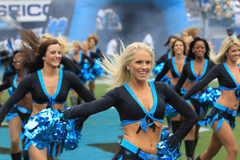 CHARLOTTE, NC - SEPTEMBER 18:  Cheerleaders of the Carolina Panthers during their game at Bank of America Stadium on September 18, 2011 in Charlotte, North Carolina.  (Photo by Streeter Lecka/Getty Images)