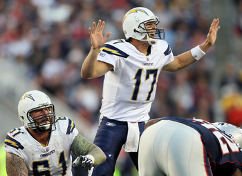 FOXBORO, MA - SEPTEMBER 18:  Philip Rivers #17 of the San Diego Chargers calls out the play as teammate  Nick Hardwick #61 listens in the second half against the New England Patriots on September 18, 2011 at Gillette Stadium in Foxboro, Massachusetts.  (P