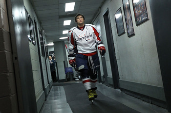 NEW YORK, NY - APRIL 17:  Alex Ovechkin #8 of the Washington Capitals walks from the locker room towards the ice as he gets set to play against the New York Rangers in Game Three of the Eastern Conference Quarterfinals during the 2011 NHL Stanley Cup Play