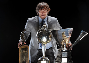 LAS VEGAS - JUNE 18:  Alexander Ovechkin of the Washington Capitals poses with the Lester B. Pearson Award, the Hart Trophy and the Maurice Richard Trophy following the 2009 NHL Awards at the Palms Casino Resort on June 18, 2009 in Las Vegas, Nevada.  (Ph
