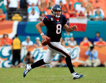 MIAMI GARDENS, FL - SEPTEMBER 18:  Houston Texans quarterback Matt Schaub #8 scrambles for yardage during a game against the Miami Dolphins at Sun Life Stadium on September 18, 2011 in Miami Gardens, Florida.  (Photo by Sam Greenwood/Getty Images)